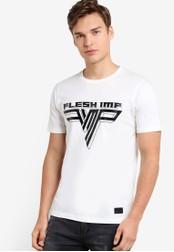 Flesh IMP white Embossed Hallen T-Shirt FL064AA99NXSMY_1