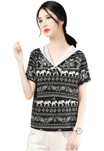 A-IN GIRLS black and white Ethnic Chiffon Blouse C8215AA49035B5GS_1