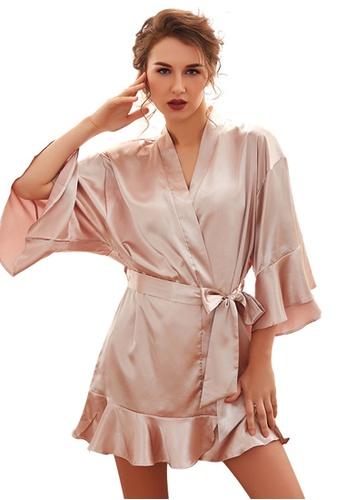 LYCKA 粉紅色 LCB8011-女士一件式居家休閒睡袍-粉紅色 B290EAAA2E07E4GS_1