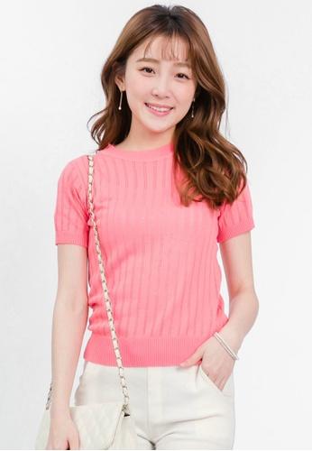 Yoco pink Short Sleeve Knit Top C147FAA6BA56CCGS_1