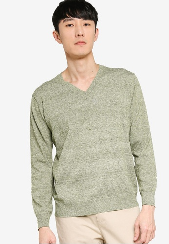 ZALORA BASICS green Basic V Neck Knitted Jumper 26112AA3473516GS_1