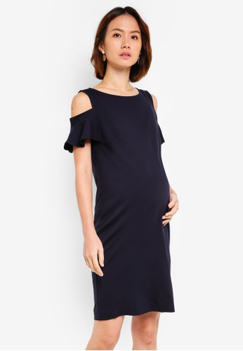 dc8c2ca7804 Pietro Brunelli Milano navy Maddalena Cold Shoulder Maternity Dress  C2615AA3E29983GS 1