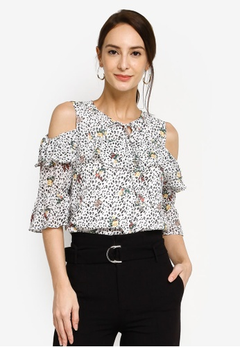 Hopeshow multi Cold Shoulder Leopard Print Blouse With Frills D9B4EAABFEE013GS_1