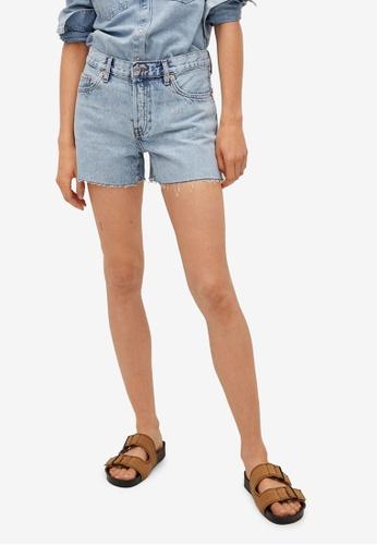 Mango blue Frayed Hem Mini Shorts EFA5DAA90E1B8AGS_1