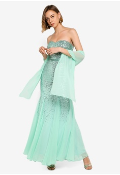 3c866323a79c2 51% OFF Goddiva Bandeau Sequin And Chiffon Maxi Dress With Scarf HK$ 899.00  NOW HK$ 439.90 Available in several sizes