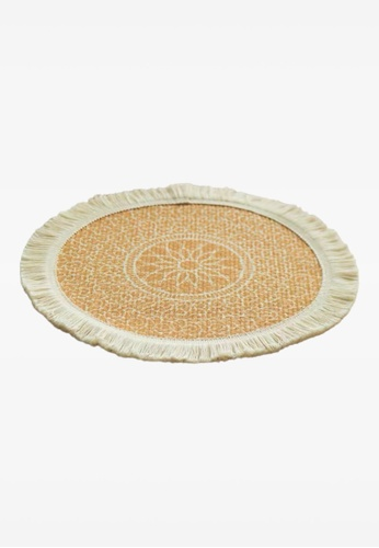 Ayra Home & Living yellow Yellow Woven Fringed Table Placemat Coaster 65D34HLD1509E2GS_1