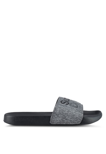 Superdry black and grey SUPERDRY LINEMAN POOL SLIDE DBE27SH2A0EFEDGS_1