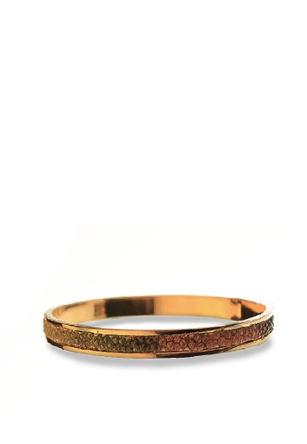 CSHEON gold and brown EL BANGLE THE 14K GOLD PLATED STING RAY LEATHER E0700ACD63D670GS_1