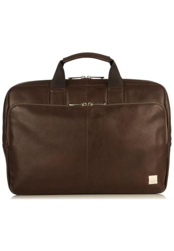 "knomo brown Newbury 15"" Single Zip Leather Briefcase (Brown) DFFE9ACE811411GS_1"