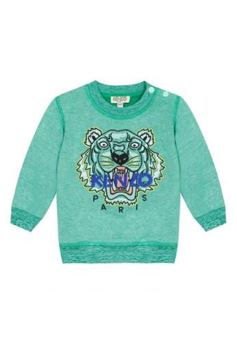 KENZO KIDS green KENZO TIGER SWEATSHIRT FOR BABY BOYS D87BFKAEBDC462GS_1