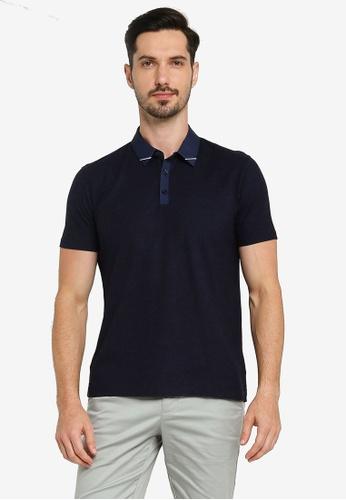 G2000 navy Woven Collar Polo Shirt 60317AA6A3AD48GS_1