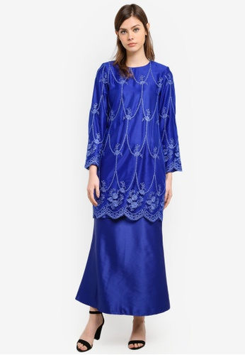 Gene Martino blue Fairy Kurung With Exclusive Glitered Embroidery Scallop Lace GE222AA0S767MY_1