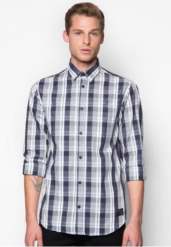 Andrew 口袋格紋esprit 價位長袖襯衫, 服飾, 服飾