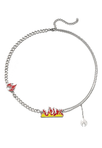 HAPPY FRIDAYS Titanium Steel Flame Necklace DWX0874 A3FB0ACB866BE3GS_1