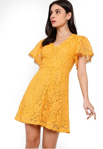 ZALORA yellow Button Down Fit And Flare Lace Dress 5371EAA7A724A2GS_1