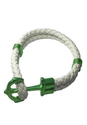 Splice Cufflinks white Grapple Series White PU Leather Green Anchor Bracelet SP744AC50XFPSG_1