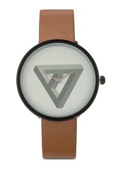 【ZALORA】 Minimalist Prism Graphic Print Watch