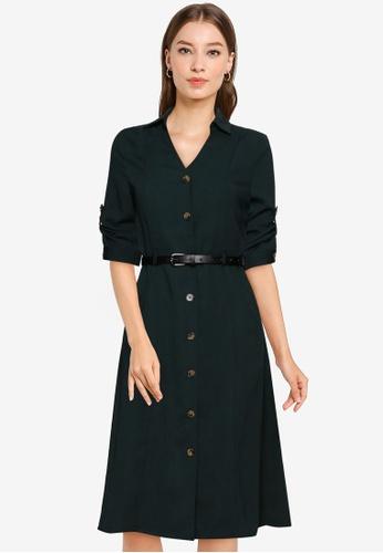 ZALORA WORK green Midi Shirt Dress With Belt 95954AABE89180GS_1