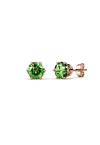 Her Jewellery green and gold Birth Stone Earrings (August, Rose Gold) - Made with premium grade crystals from Austria A6936ACBF32C67GS_1