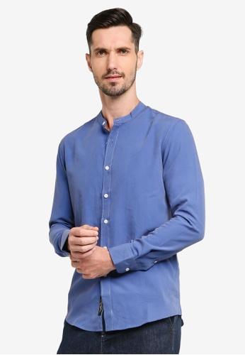 UniqTee blue Collar Long Sleeve Shirt 53058AAD0A5259GS_1