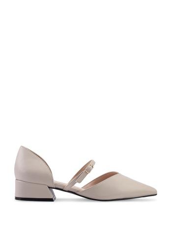 Kimmijim 米褐色 Philipa Pointed Toe Mary Jane Block Heels 9717ASHDFFC025GS_1