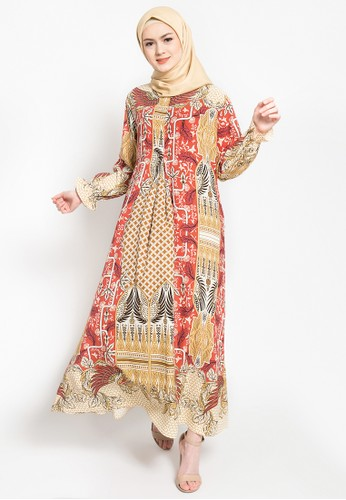 LISH orange and yellow and brown Elior Dress - Amber BB9B3AA4C8287FGS_1