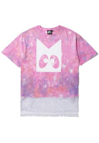 Mini cream pink Tie dye mesh hem tee EA686AA4F66469GS_1