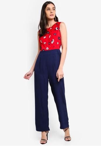 ZALORA 紅色 and 多色 Sleeveless Wide Leg Jumpsuit 5667CAAD8FC370GS_1