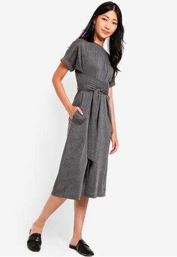 ZALORA grey Jersey Wrap Midi Dress FFB6EAA3765C63GS_1