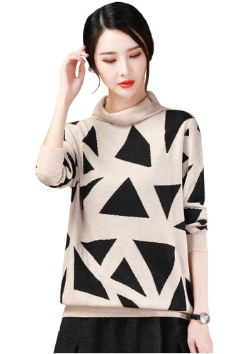 A-IN GIRLS black and beige Fashion Turtleneck Sweater 2F6A4AA885FD61GS_1