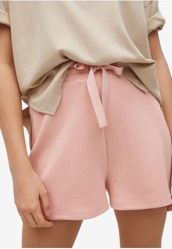 Mango pink Drawstring Waist Shorts 99EACAA9B71AD4GS_1