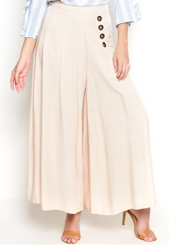 Nichii beige Button-Detailed Palazzo Pants 2F313AAEC248D3GS_1