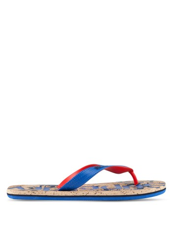 Superdry blue and brown Printed Cork Flip Flop BBCBESH484EA45GS_1