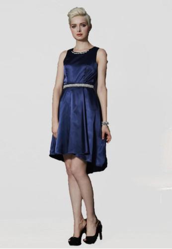 時尚派對前短後長珍珠鑽zalora taiwan 時尚購物網腰帶緞面短禮服, 服飾, 派對洋裝