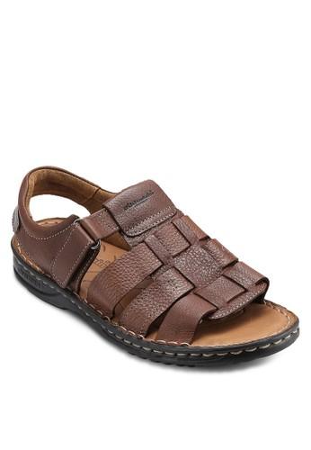 zalora 評價露趾繞踝皮革涼鞋, 鞋, 鞋