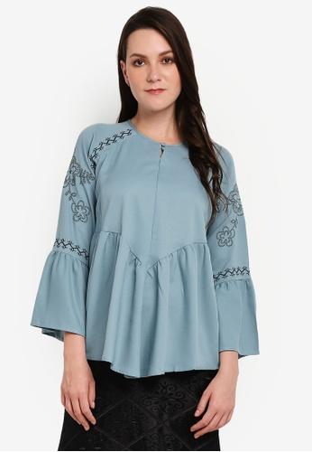 BYN blue Embroidery Long Sleeve Top E699CAA83A1E68GS_1
