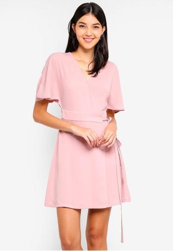 ZALORA pink Bat Sleeves Wrap Dress 41F74AA4FC6D92GS_1