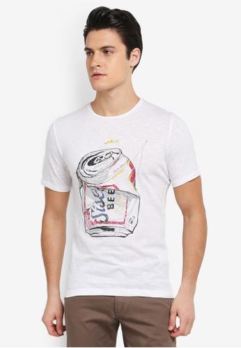 Sisley 白色 手繪罐頭短袖T恤 52D04AA43A0914GS_1