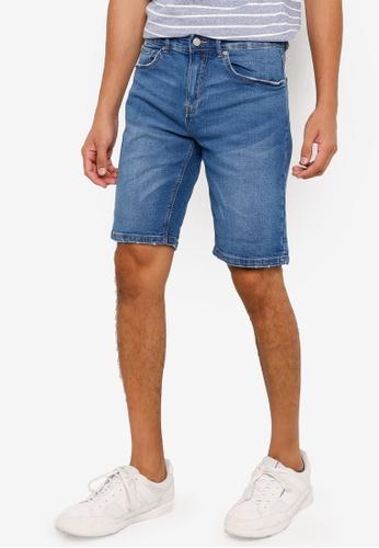 Springfield blue Slim Fit Denim Shorts F0A36AA23BB3B4GS_1