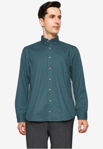 LC Waikiki green Regular Fit Figured Long Sleeve Poplin Shirt CC60EAA901AC56GS_1