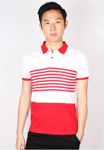 Moley red Striped Colour Block Polo T-Shirt 6E82DAAED0EB05GS_1