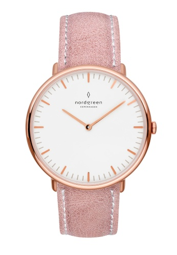 Nordgreen pink and gold Nordgreen Native Rose Gold 36 mm - Pink Leather Watch 5D27DAC257576CGS_1