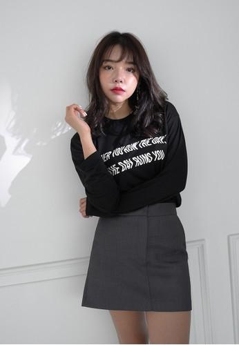 韓式風格彎曲文字印花長袖衫esprit台灣網頁, 服飾, 上衣