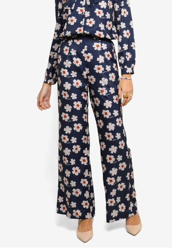 Lubna white and blue Printed Wide Leg Pants A3CD6AA38C1DCBGS_1