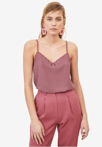 Trendyol pink Strappy Rose Camisole Top FBE1BAA5D23C01GS_1