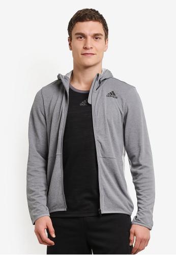 adidas 灰色 adidas climacool workout 全 拉鍊 連帽衫 AD372AA0S91GMY_1