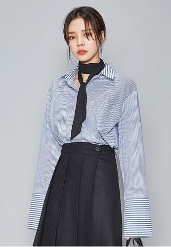 潮流條紋寬袖口zalora 泳衣襯衫, 服飾, 襯衫