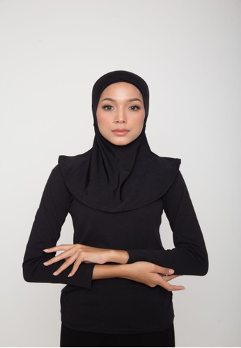 Matsalleh Design black Swim Hijab in Shimmery Black 080FFAAB6510FEGS_1