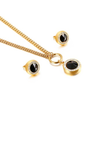 Glamorousky 黑色 時尚簡約鍍金色幾何圓形黑色鋯石316L鋼項鏈和耳釘套裝 F62EAAC763F371GS_1