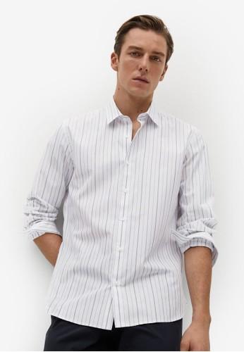 MANGO Man white Slim Fit Striped Cotton Shirt D34AEAAC0209AAGS_1